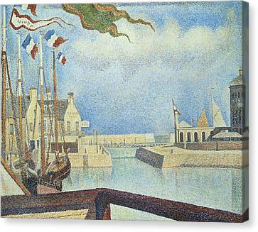 Sunday  Port-en-bessin Canvas Print by Georges Pierre Seurat