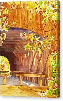 Sunday River Bridge Canvas Print by Karen Fleschler