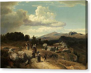 Sunday Walk In The Roman Countryside Canvas Print by Oswald Achenbach