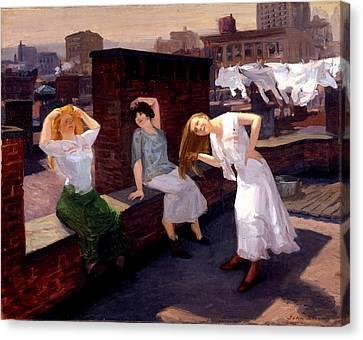 Hair-washing Canvas Print - Sunday Women Drying Their Hair by John French Sloan