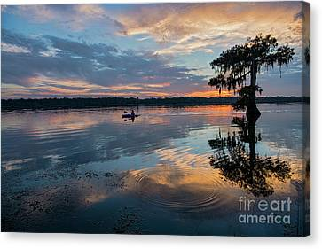 Sundown Kayaking At Lake Martin Louisiana Canvas Print by Bonnie Barry