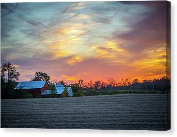 Sundown On The Farm Canvas Print by Randall Branham