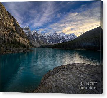 Sundown On The Rocks Canvas Print by Royce Howland