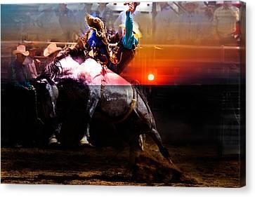 Sundown Saddle Bronc Rider Canvas Print by Mark Courage
