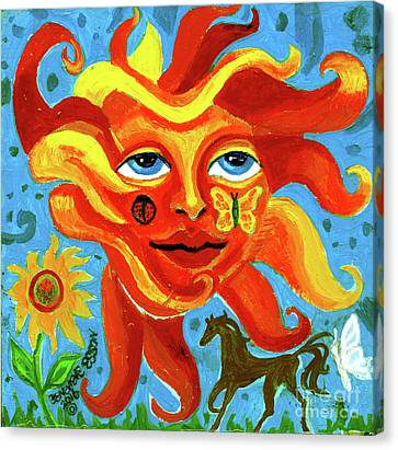 Canvas Print featuring the painting Sunface With Butterfly And Horse by Genevieve Esson