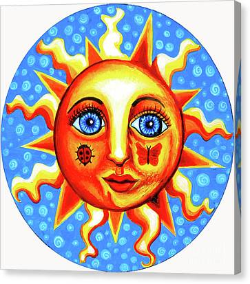 Sun Rays Canvas Print - Sunface With Ladybug by Genevieve Esson