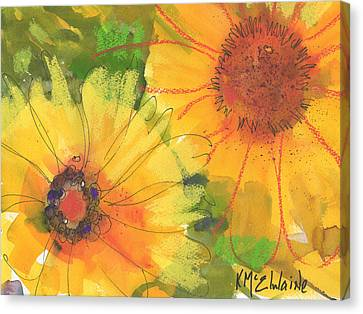 Big Sunflowers Watercolor And Pastel Painting Sf018 By Kmcelwaine Canvas Print