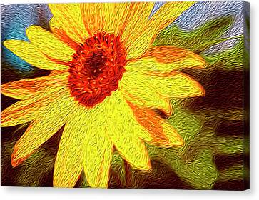 Sunflower Abstract Canvas Print by Les Cunliffe