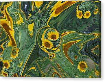 Sunflower Abstract Canvas Print by Michelle  BarlondSmith