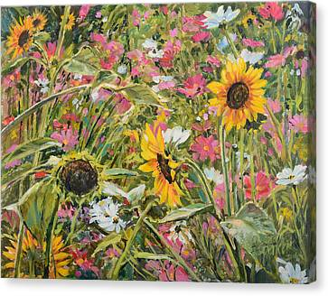Canvas Print featuring the painting Sunflower And Cosmos by Steve Spencer