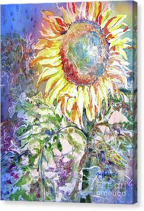 Canvas Print featuring the painting Sunflower And Grasshopper by Mary Haley-Rocks