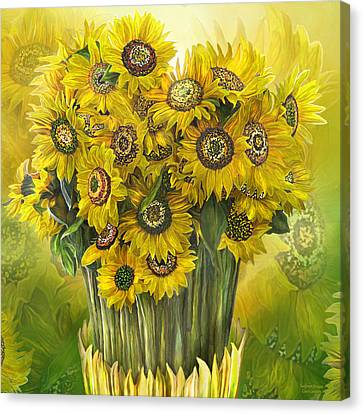 Canvas Print featuring the mixed media Sunflower Bouquet by Carol Cavalaris