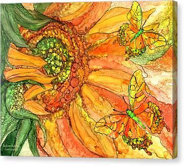 Summer Flowers Canvas Print - Sunflower Butterflies by Carol Cavalaris