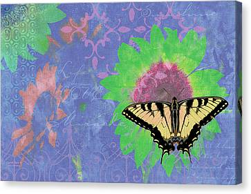 Sunflower Butterfly Blue Canvas Print