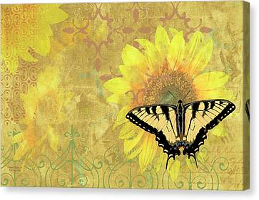 Sunflower Butterfly Yellow Gold Canvas Print