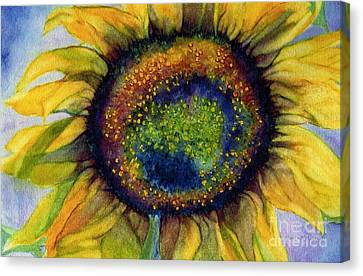Sunflower  Emergence Canvas Print by Janine Riley