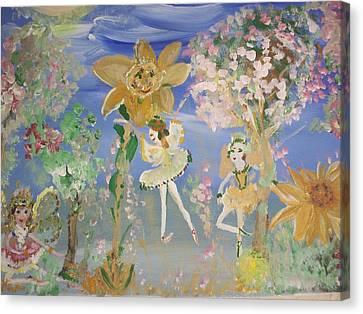 Sunflower Fairies Canvas Print by Judith Desrosiers
