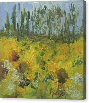 Sunflower Field Canvas Print by Barbara Andolsek