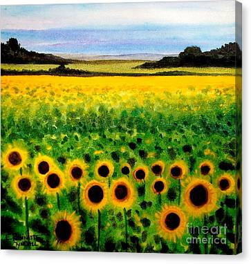 Canvas Print featuring the painting Sunflower Field by Elizabeth Robinette Tyndall