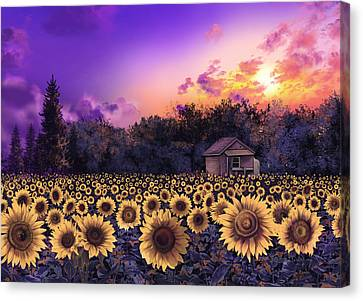 Digital Sunflower Canvas Print - Sunflower Field Purple by Bekim Art
