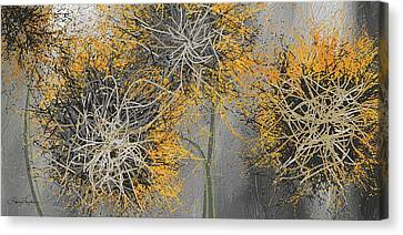 Sunflower Frenzies - Yellow And Gray Modern Art Canvas Print by Lourry Legarde