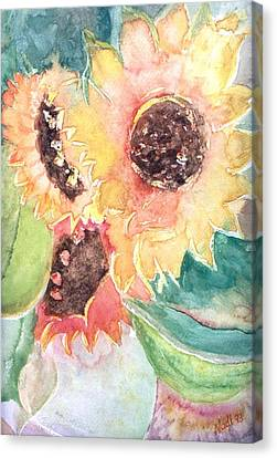 Canvas Print featuring the painting Sunflower Glory by Renate Nadi Wesley
