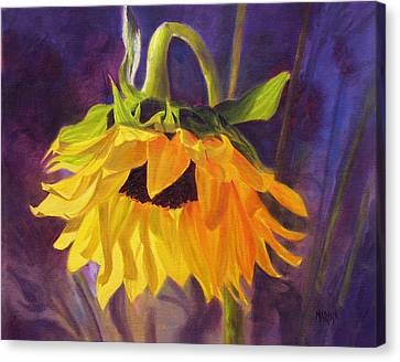 Canvas Print featuring the painting Sunflower Glow by Marina Petro