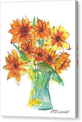Sunflower Medley II Watercolor Painting By Kmcelwaine Canvas Print by Kathleen McElwaine