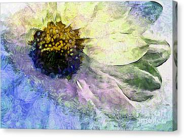 Digital Sunflower Canvas Print - Sunflower Of Hope by Krissy Katsimbras