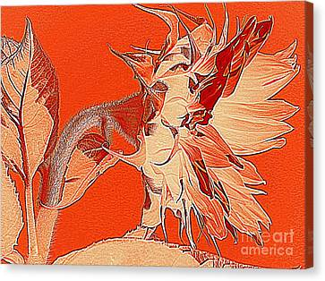 Sunflower - Orange Deco Burst Canvas Print by Janine Riley