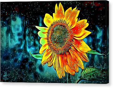 Canvas Print featuring the digital art Sunflower Rain by Pennie McCracken
