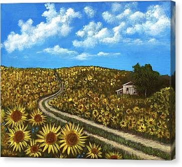 Canvas Print featuring the painting Sunflower Road by Anastasiya Malakhova