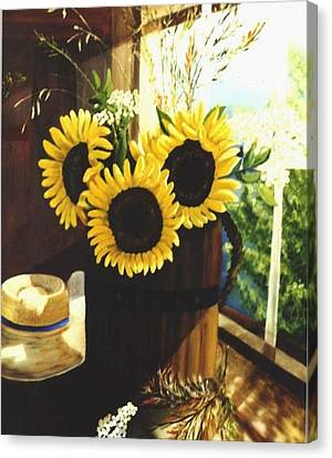 Canvas Print featuring the painting Sunflower Sill by Renate Nadi Wesley