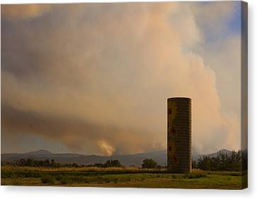 Sunflower Silo With The Four Mile Canyon Fire  Canvas Print by James BO  Insogna