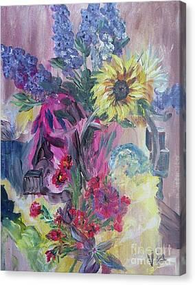 Sunflower Still Life Canvas Print by Judy Via-Wolff