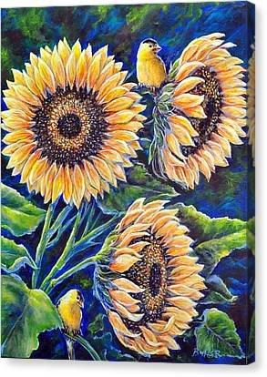 Sunflower Supper Canvas Print by Gail Butler