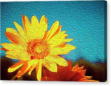 Sunflowers Abstract Canvas Print by Les Cunliffe