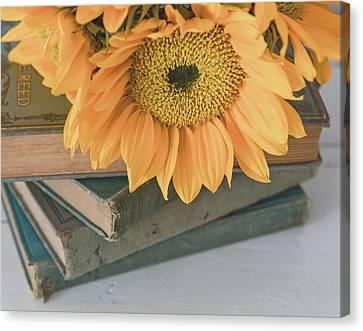 Canvas Print - Sunflowers And Books by Kim Hojnacki