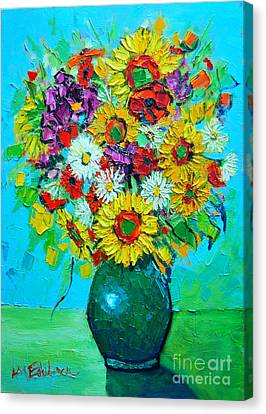 Sunflowers And Daises Canvas Print by Ana Maria Edulescu