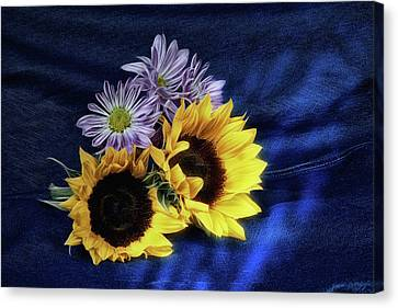 Sunflowers And Daisies Canvas Print by Tom Mc Nemar