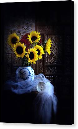 Sunflowers And Globe Canvas Print by Linda Olsen