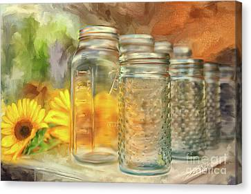 Glass And Metal Art Canvas Print - Sunflowers And Jars by Lois Bryan