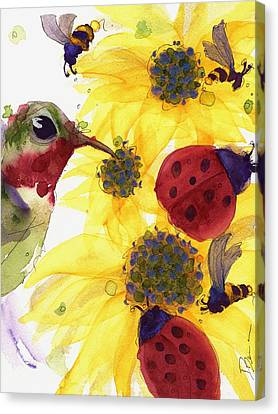 Sunflowers And Ladybugs Canvas Print by Dawn Derman