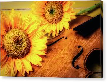 Sunflowers And Old Violin Canvas Print