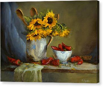 Sunflowers And Paprika Canvas Print