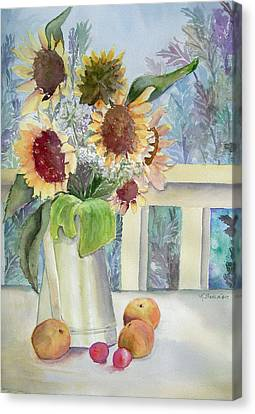 Sunflowers And Peaches Canvas Print by Katherine  Berlin