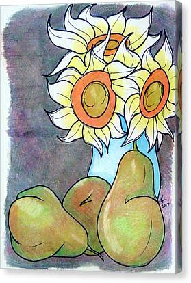 Sunflowers And Pears Canvas Print by Loretta Nash