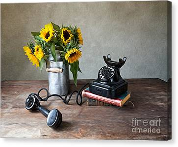 Shiny Canvas Print - Sunflowers And Phone by Nailia Schwarz