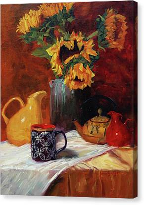Sunflowers And Undersea Vase Canvas Print by Jeanne Young