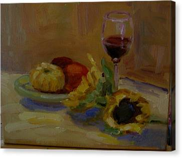 Sunflowers And Wine Canvas Print